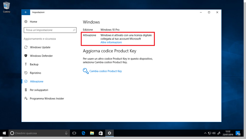 Windows 10 - Esempio di licenza digitale collegata all'account Microsoft
