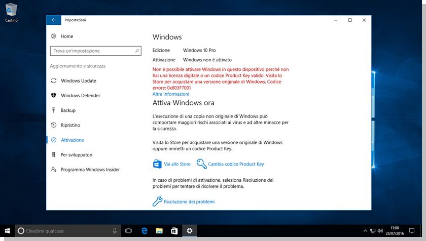 Windows 10 - Sistema non attivato