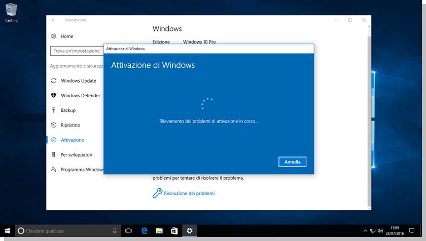 Windows 10 - Schermata rilevamento problemi di attivazione