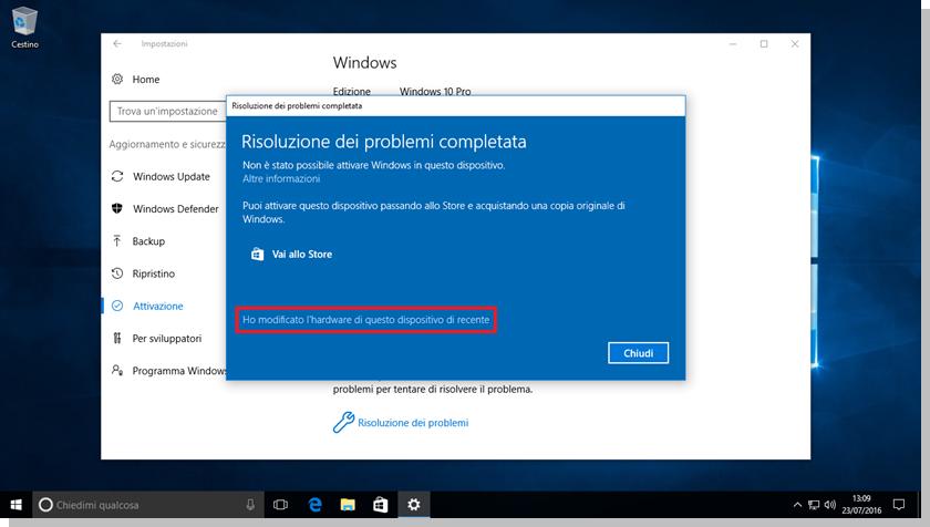 Windows 10 - Schermata Risoluzione dei problemi completata in merito all'attivazione