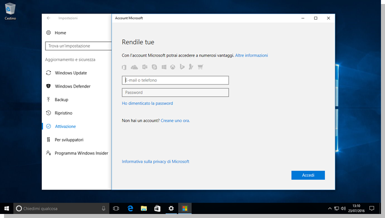 Windows 10 - Aggiunta di un account Microsoft