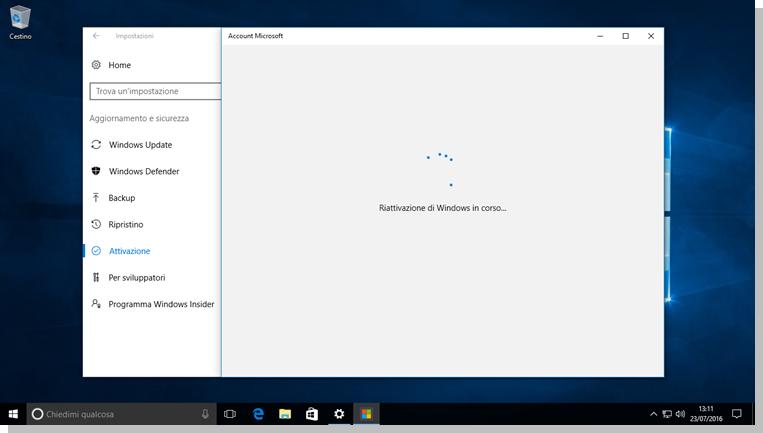 Windows 10 - Operazione di riattivazione