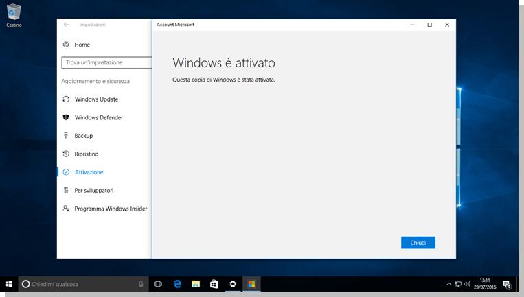 Windows 10 - Conferma riattivazione