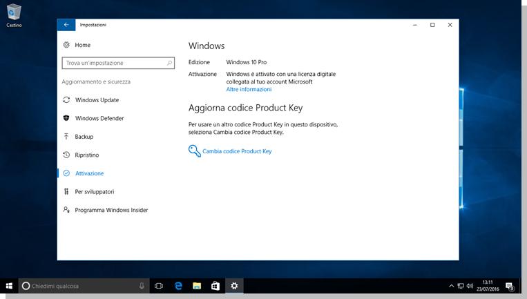 Windows 10 - Impostazioni di Attivazione