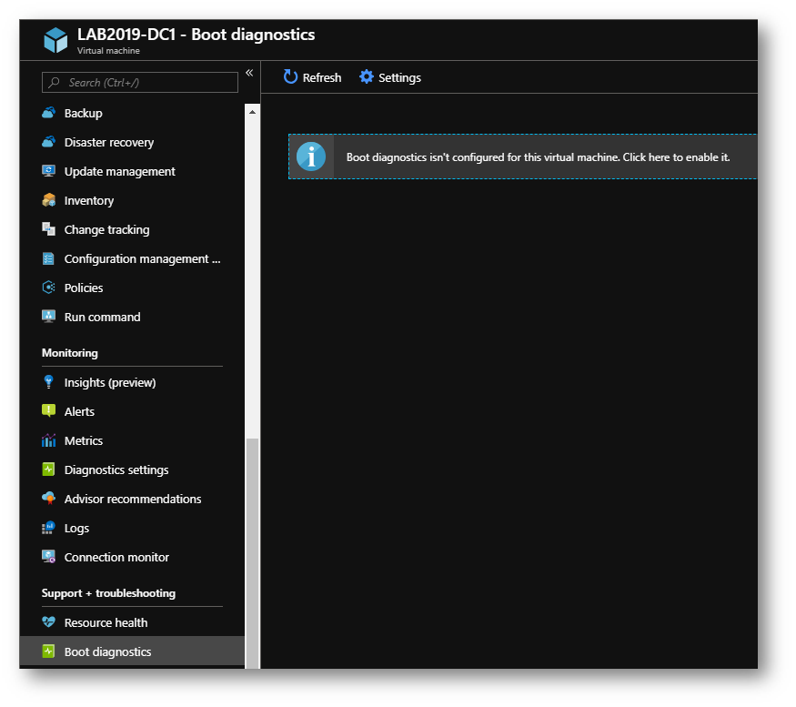 Azure virtual machine serial console: troubleshooting per
